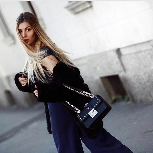 Beautiful @cristinamusacchio wearing @pomikaki bag during ...